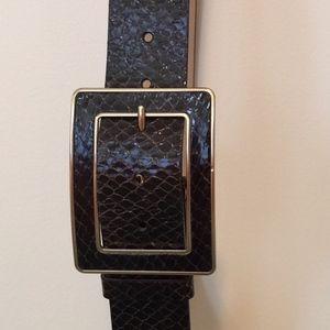 BANANA REPUBLIC Black Reptile Leather Belt Sz M